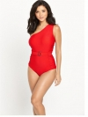 One Shoulder  Belted Swimsuit