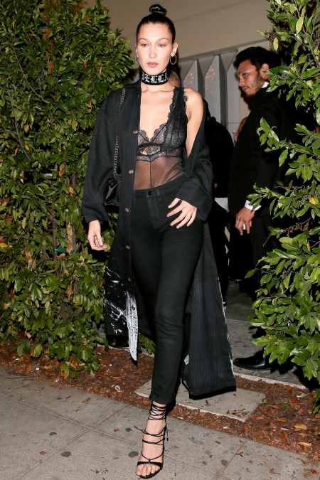 Bella Hadid Wears a Lingerie-Inspired Bodysuit to Dinner